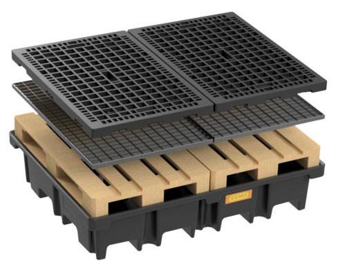 PE-Palettenauffangwanne 425/4 - optional mit Stahlgitterrost oder PE-Rost