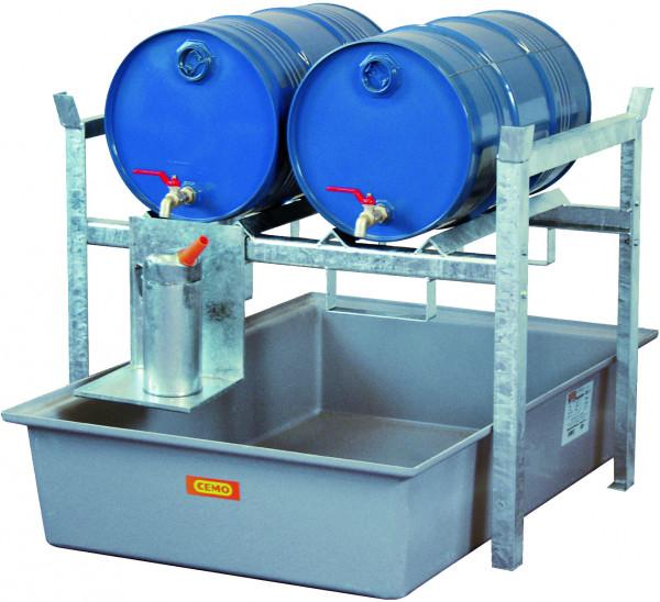 Beispiel Fassregal Typ 400 eine Lagerebene für 2 x 60-l-Fässer