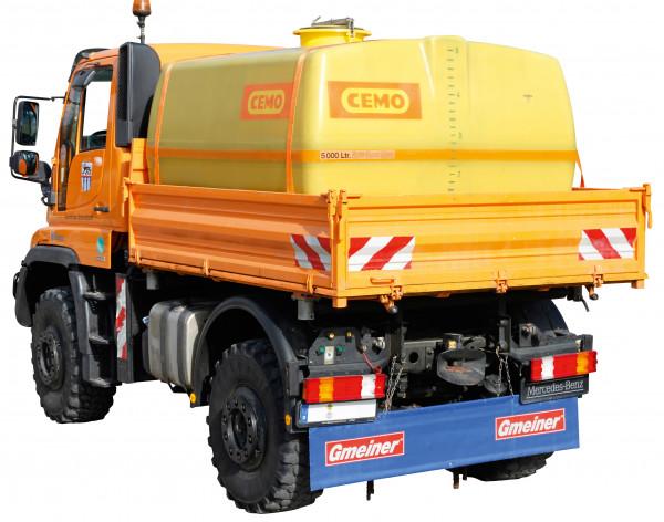 Beispiel kofferförmiges GFK-Fass 5000 Liter auf Unimog