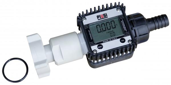 Elektrischer Durchflusszähler K24 mit Anschlussverschraubung und Schlauchanschluß-Stück DN19