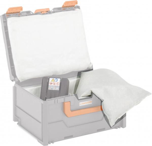 Beispiel zu Spezialkissen für Akku-Systembrandschutzbox – Lieferumfang ohne Box