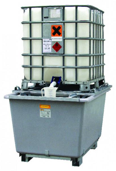 Beispiel IBC-Auffangwanne aus GFK mit Stahlgitterrost und Zubehör ausgestattet