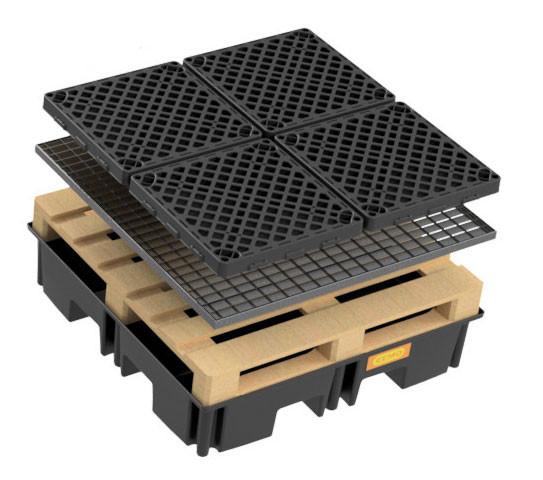 Palettenauffangwanne 220/4 - optional mit Stahlgitterrost oder PE-Rost