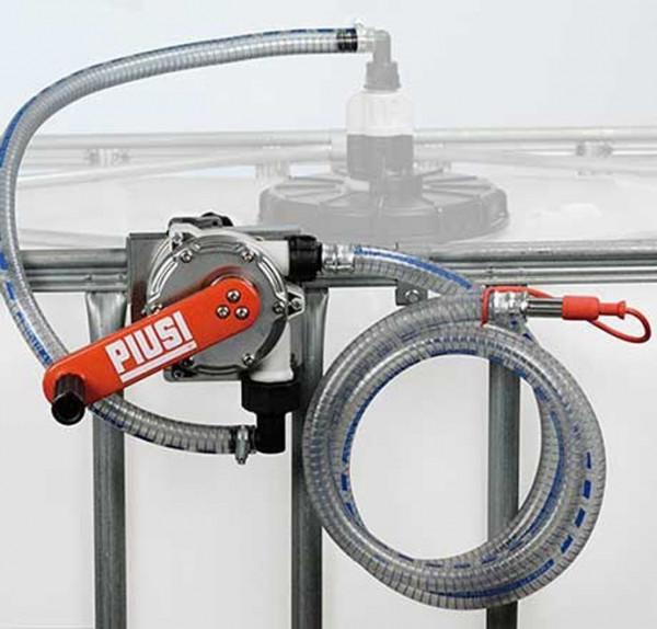 Kurbelpumpe AdBlue® für IBC-Tanks mit Montagepaltte und Saugschlauch