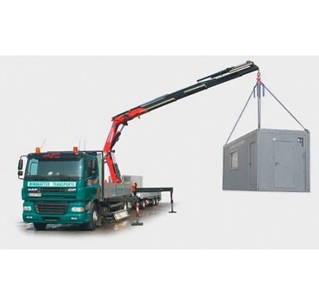 Beispiel Entladung der Sicherheits-Raumcontainers durch LKW-Kran