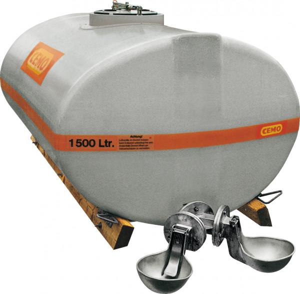 Beispiel Weidefass 1500 Liter mit Anbautränken –grau eingefärbt dadurch besonders UV-beständig
