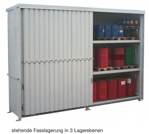 Beispiel Regalcontainer – stehende Fasslagerung