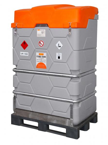 CUBE-Tank-Mobil für Diesel mit Fußpalette und Klappdeckel – 1000 Liter