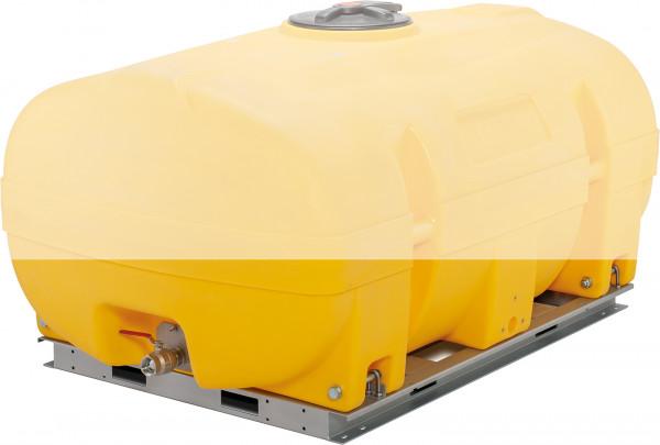 Grundrahmen für PE-Fass 2000 Liter kofferförmig 4seitig unterfahrbar aus verzinktem Stahl – Lieferumfang ohne Fass
