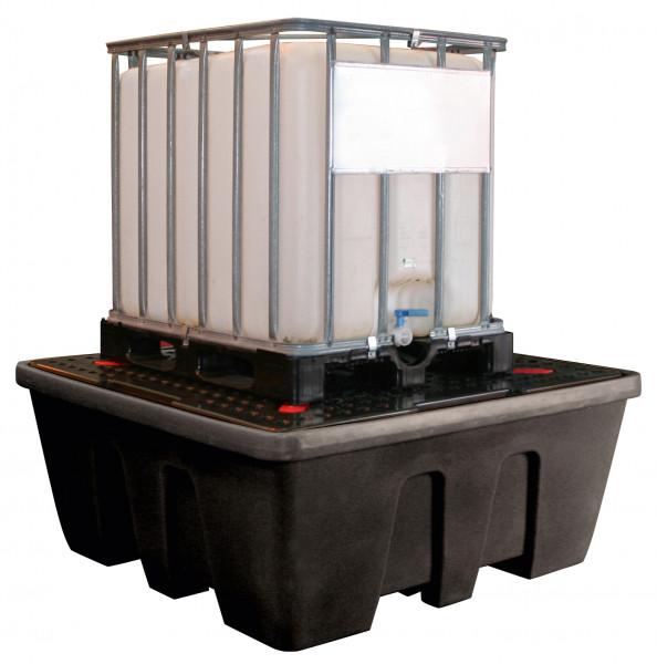 Beispiel IBC-Auffangwanne 1200/1-PE mit PE-Lochplatte für einen Container