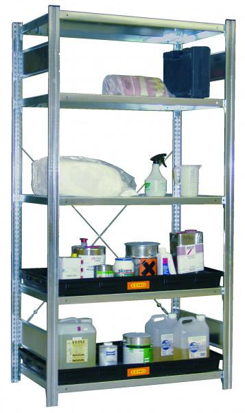 Beispiel Gefahrstoffregal verzinkt mit 2 PE-Auffangwannen – 5 Lagerebenen