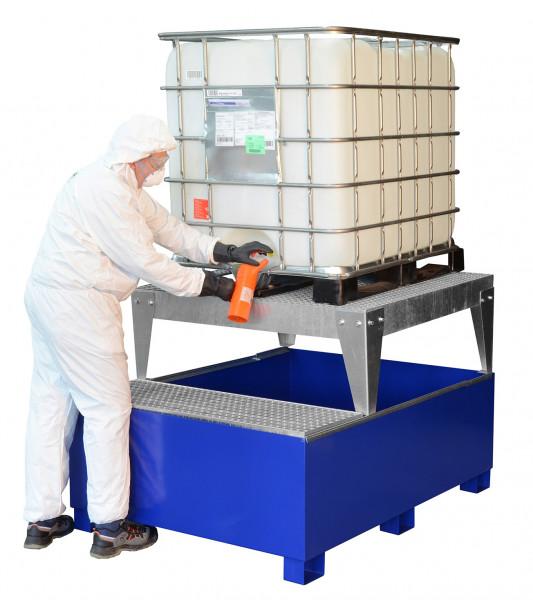 Beispiel IBC-Auffangwanne GS1a AB1 aus Stahl lackiert mit Abfüllfläche und Abfüllbock
