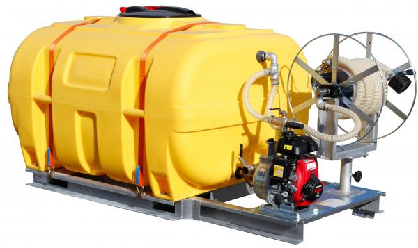Bewässerungssystem: Fass mit Pumpe - Schlauchhaspel und Schlauch