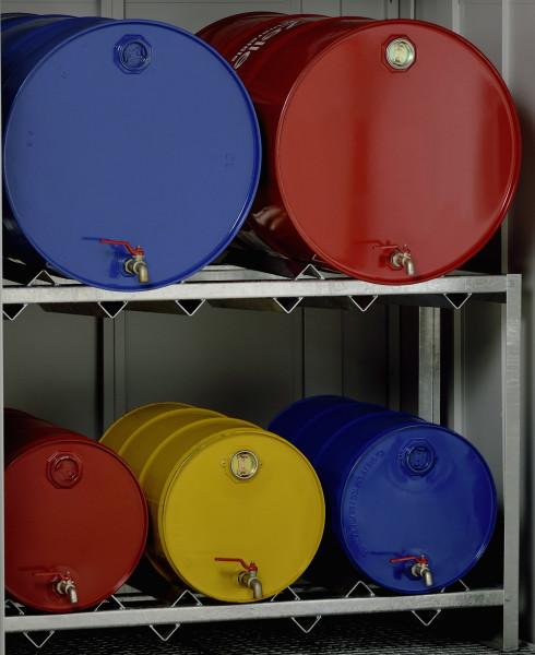 Beispiel Fassregal für Gefahrstoffdepot aus Stahl 320 und 400